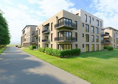 Blick auf Wohnhaus, Bürogebäude und Seniorenwohnen