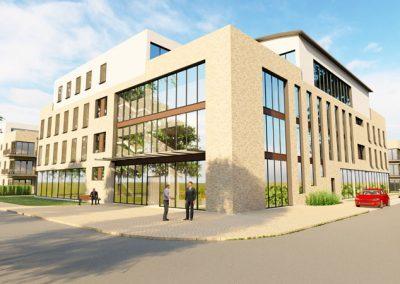 Blick von der Garnisonsstraße auf das Bürogebäude