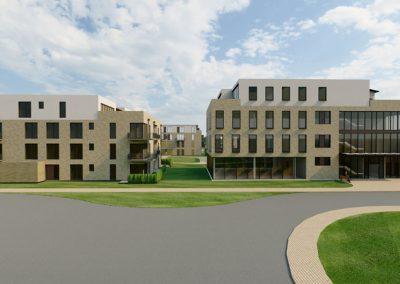 Blick auf Wohn- und Bürogebäude