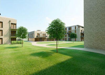 Blick in den Innenhof und auf Gebäude Seniorenwohnen