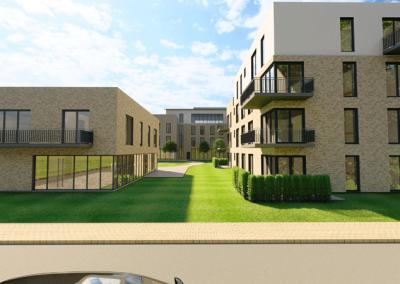 Blick von Bürgermeister-Brandenburg-Straße auf Wohnhaus und Seniorenwohnen